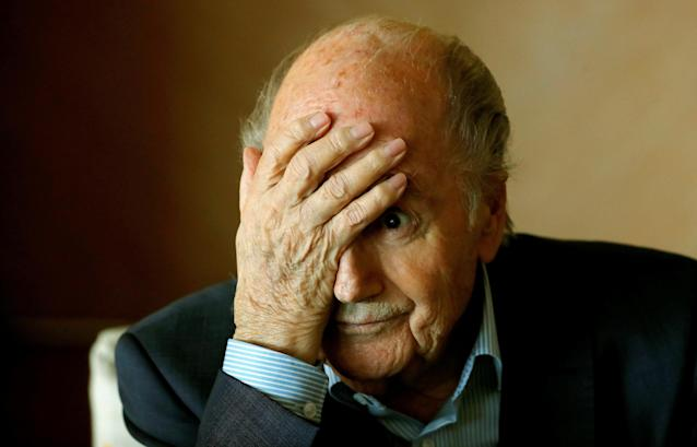 Former FIFA President Sepp Blatter gestures during a round table talk with journalists in Zurich, Switzerland March 8, 2018. REUTERS/Arnd Wiegmann