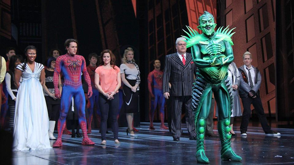 Mandatory Credit: Photo by Carolyn Contino/BEI/Shutterstock (1506970g)Christina Sajous, Reeve Carney, Rebecca Faulkenberry, Patrick Pa'Spider-Man Turn Off the Dark' Musical Celebrates One Year on Broadway, New York, America - 27 Nov 2011Spider-Man Turn Off the Dark celebrates its one year anniversary on Broadway, Foxwoods Theatre, New York City.
