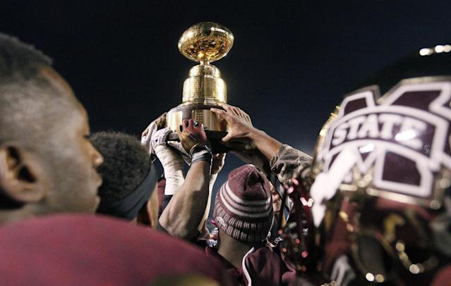 Random offseason tweet of the day: Mississippi State's AD trolls Ole Miss with Egg Bowl trophy