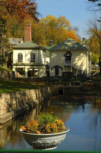 """<p>It's not every day that you find a town nicknamed """"<a href=""""http://www.berkeleyspringssp.com/"""" rel=""""nofollow noopener"""" target=""""_blank"""" data-ylk=""""slk:America's First Spa"""" class=""""link rapid-noclick-resp"""">America's First Spa</a>,"""" but Berkeley Springs is just that. Washington bathed in the warm mineral springs — and so can you, in the baths at Berkeley Springs State Park. </p><p><em>Photo via <a href=""""https://commons.wikimedia.org/wiki/File:BerkeleySpringsSP_WestVirginia.jpg """" rel=""""nofollow noopener"""" target=""""_blank"""" data-ylk=""""slk:Wikimedia Commons"""" class=""""link rapid-noclick-resp"""">Wikimedia Commons</a> </em></p>"""