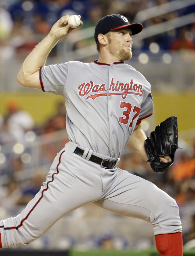 Washington Nationals starting pitcher Stephen Strasburg (37) throws in the first inning during a baseball game against the Miami Marlins, Tuesday, July 29, 2014, in Miami. (AP Photo/Lynne Sladky)