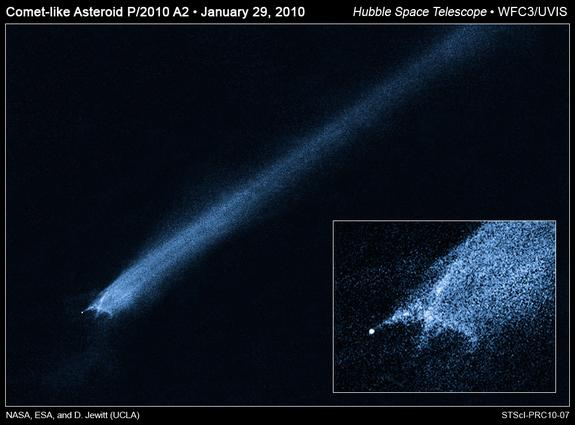 Hubble Space Telescope observation of an asteroid known as P/2010 A2 trailing debris following a suspected collision.