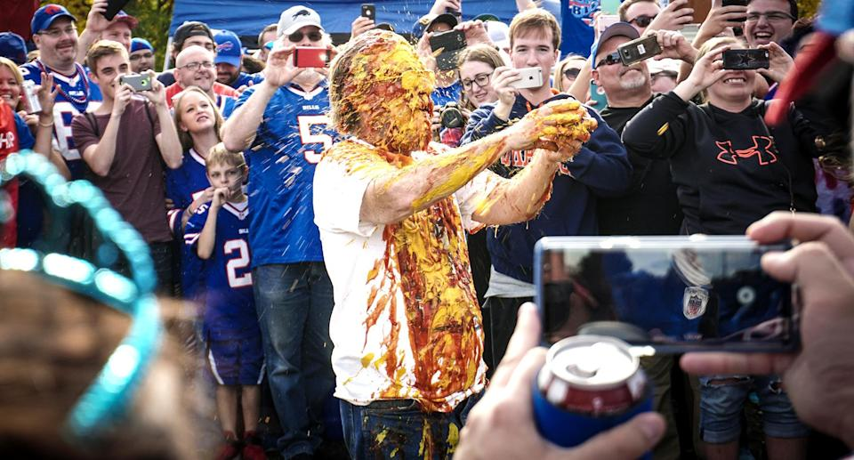Bills Mafia has a unique way of celebrating, particularly with ketchup and mustard. (Getty Images)