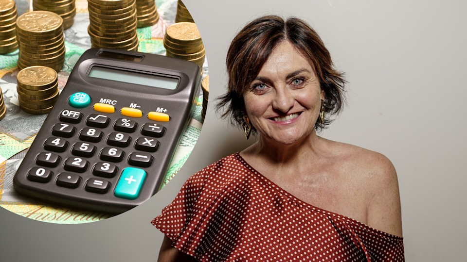 Pictured: Australian woman Simone Milasas, Australian money and calculator suggesting debt. Images: Getty, supplied