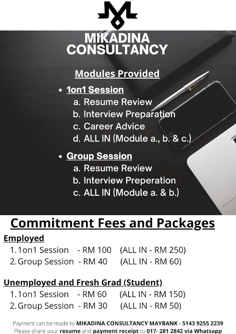 Fees for the various online classes taught by Abdul Khaliq Putra and his team members. — Picture courtesy of Abdul Khaliq Putra.