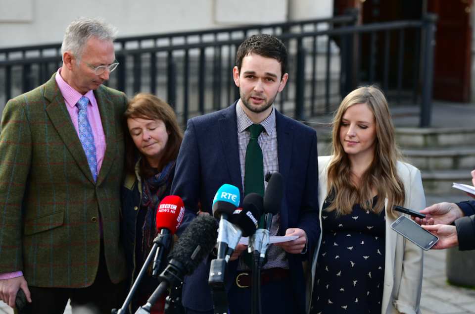 <em>Daniel McArthur (2nd right), managing director of Ashers Bakery and his wife Amy McArthur (right) alongside family members Colin McArthur (left) and Karen McArthur (2nd left) after the original court ruling (Getty)</em>