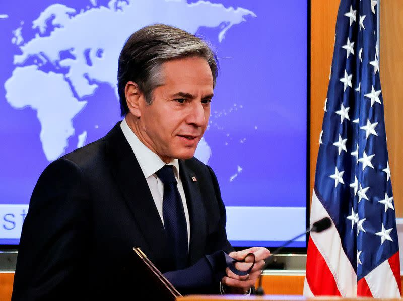 FILE PHOTO: New U.S. Secretary of State Antony Blinken holds first press briefing at the State Department in Washington