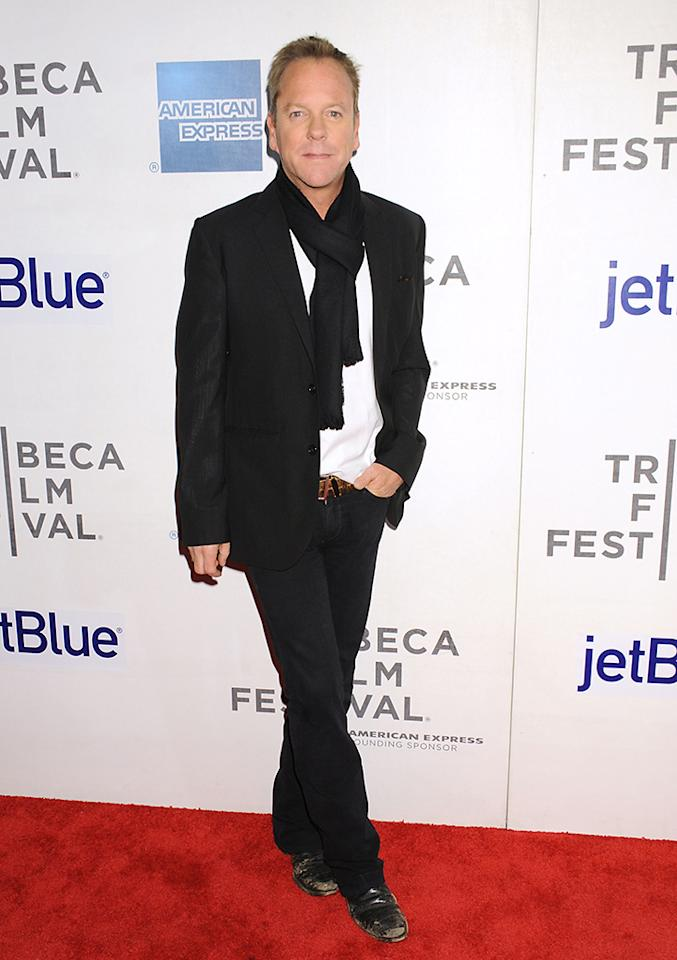 "NEW YORK, NY - APRIL 22:  Actor Kiefer Sutherland attends the ""Reluctant Fundamentalist"" US Premiere - 2013 Tribeca Film Festival at BMCC Tribeca PAC on April 22, 2013 in New York City.  (Photo by Jennifer Graylock/Getty Images)"
