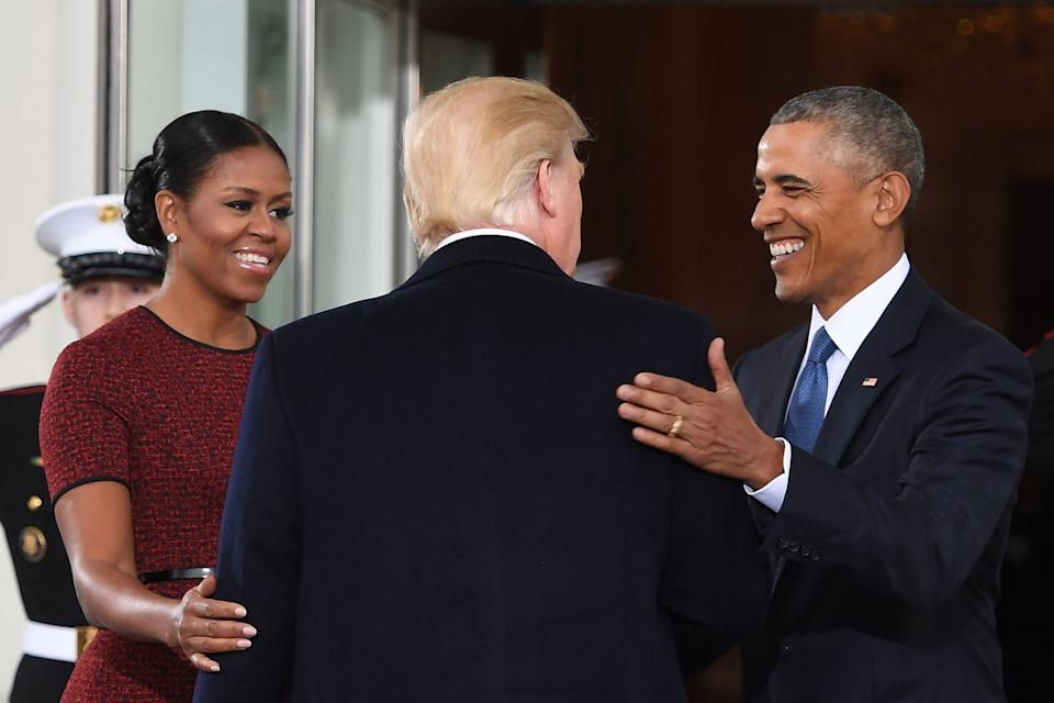 <p>President-elect Donald Trump is greeted by President Barack Obama and First Lady Michelle Obama as he arrives at the White House in Washington, DC on his Inauguration Day, January 20, 2017.</p>