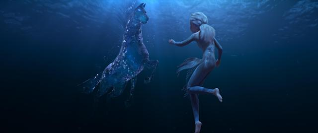 In Frozen 2, Elsa encounters a Nokkâ, a mythical water spirit that takes the form of a horse. (©2019 Disney. All Rights Reserved.)