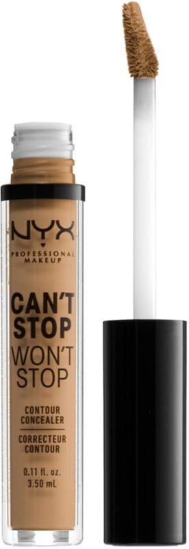 """<p><a href=""""https://www.popsugar.com/buy/NYX-Professional-Makeup-Cant-Stop-Wont-Stop-Concealer-446664?p_name=NYX%20Professional%20Makeup%20Can%27t%20Stop%20Won%27t%20Stop%20Concealer&retailer=ulta.com&pid=446664&price=6&evar1=bella%3Aus&evar9=6854911&evar98=https%3A%2F%2Fwww.popsugar.com%2Fphoto-gallery%2F6854911%2Fimage%2F46749334%2FNYX-Professional-Makeup-Cant-Stop-Wont-Stop-Concealer&list1=makeup%2Cbeauty%20products%2Cconcealer%2Cnyx%20professional%20makeup&prop13=api&pdata=1"""" rel=""""nofollow"""" data-shoppable-link=""""1"""" target=""""_blank"""" class=""""ga-track"""" data-ga-category=""""Related"""" data-ga-label=""""https://www.ulta.com/cant-stop-wont-stop-concealer?productId=pimprod2001745"""" data-ga-action=""""In-Line Links"""">NYX Professional Makeup Can't Stop Won't Stop Concealer</a> ($6, originally $9) does exactly that. It promises 24 hours of wear while also remaining water- and transfer-proof.</p>"""