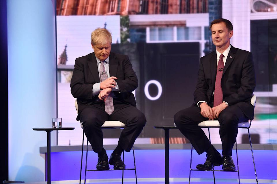 Boris Johnson and Jeremy Hunt sit side by side during last week's TV debate (Picture: Getty)