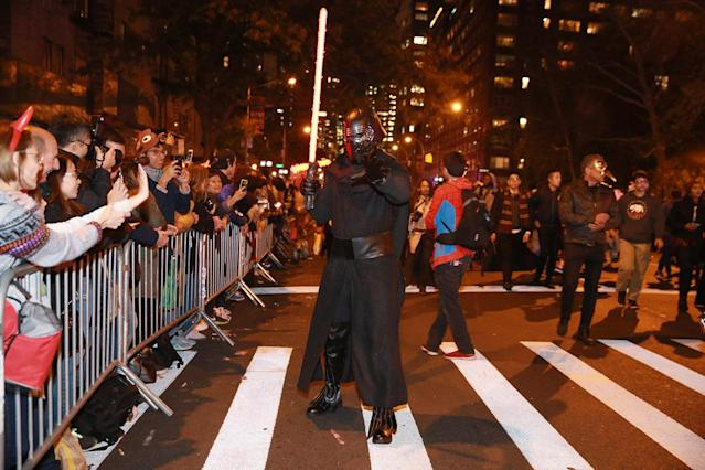 "<p>""Kylo Ren"" uses the dark side to get his photo taken in 44th annual Village Halloween Parade in New York City on Oct. 31, 2017. (Photo: Gordon Donovan/Yahoo News) </p>"