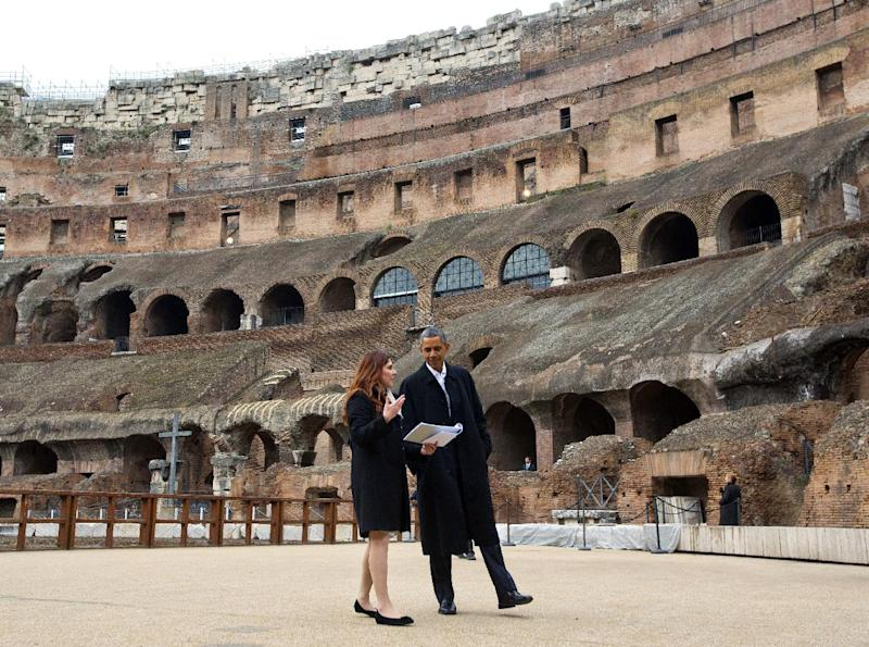 In this March 27, 2014, photo, President Barack Obama with Barbara Nazzaro, Technical Director and Architect of the Colosseum, tour the Colosseum in Rome. From the heart of Europe to the expanse of Saudi Arabia's desert, Obama's weeklong overseas trip amounted to a reassurance tour for stalwart, but sometimes skeptical, American allies. At a time when Obama is grappling with crises and conflict in both Europe and the Middle East, the four-country swing also served as a reminder that even those longtime partners still need some personal attention from the president. (AP Photo/Pablo Martinez Monsivais)