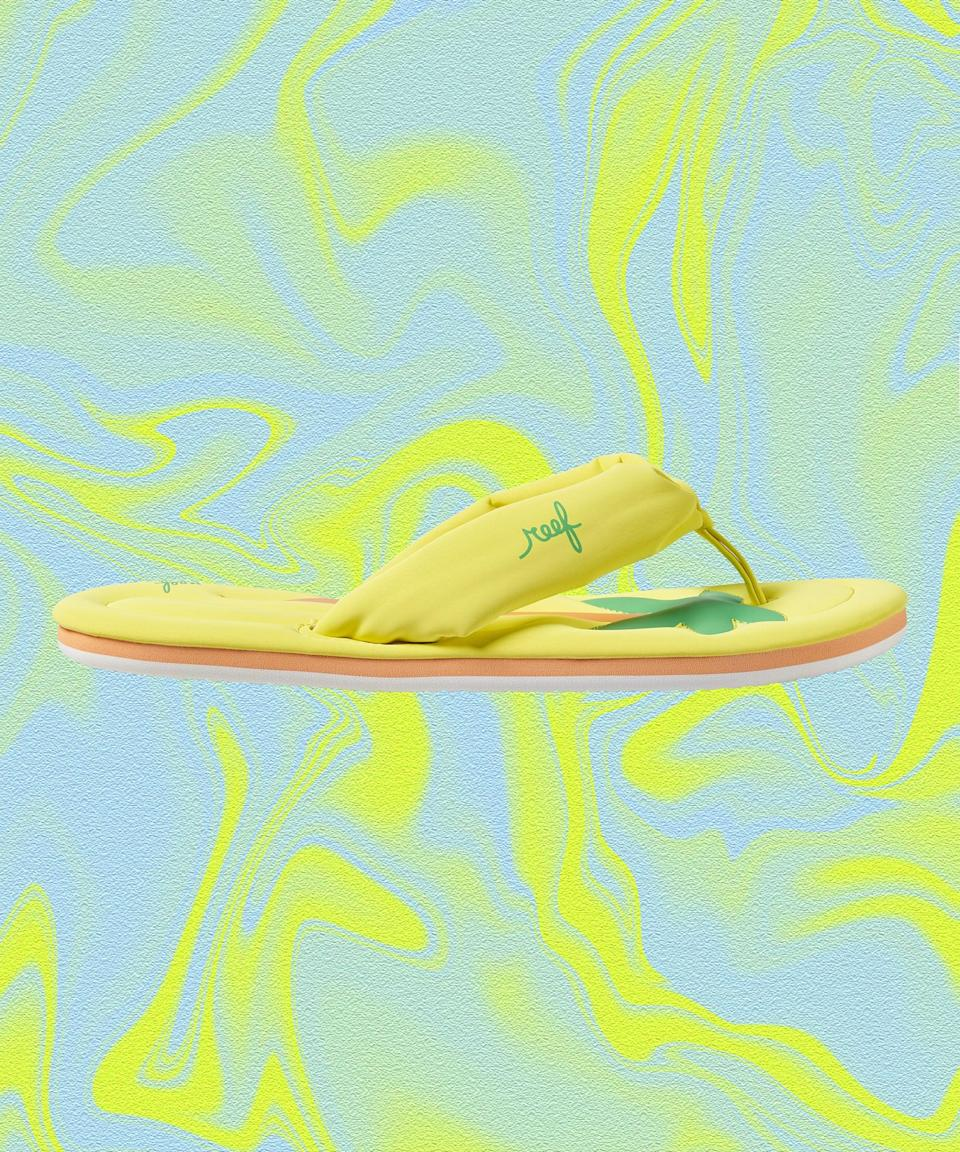 """<strong>How we'd wear it: </strong>With a high-cut maillot (in a bright color to offset the oversized straps), saucer-size sunglasses, and a coconut-milk-based beverage.<br><br><strong>Where we'd wear it: </strong>Grifting our way into a private pool.<br><br><strong>Reef</strong> Pool Float, $, available at <a href=""""https://go.skimresources.com/?id=30283X879131&url=https%3A%2F%2Fwww.reef.com%2Fshop%2Fwomens-sandals%2Fpool-float%2FML04860.html"""" rel=""""nofollow noopener"""" target=""""_blank"""" data-ylk=""""slk:Reef"""" class=""""link rapid-noclick-resp"""">Reef</a>"""