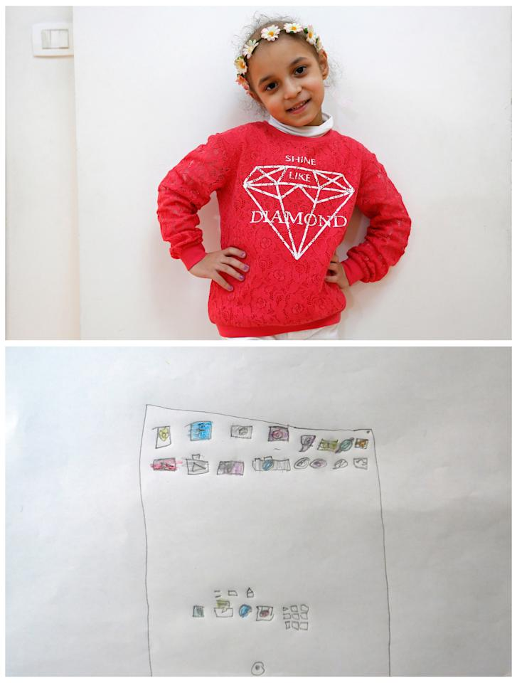 """A combination picture shows Lynn Habbouche, 6, suffering from leukaemia, posing for a photograph at her home (top) and her drawing of what she wants to get for Christmas from Santa, in Beirut, Lebanon November 26, 2016. All she wants from Santa is to recover and an iPad, she said. Reuters photographers around the world asked children to draw what they wanted to receive from Santa for Christmas. REUTERS/Jamal Saidi            SEARCH """"CHRISTMAS WISHES"""" FOR THIS STORY. SEARCH """"WIDER IMAGE"""" FOR ALL STORIES."""