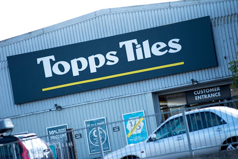 RAYLEIGH, ENGLAND - SEPTEMBER 03: A general view of a Topps Tiles signage on September 3, 2019 in Rayleigh, England. (Photo by John Keebls/Getty Images)