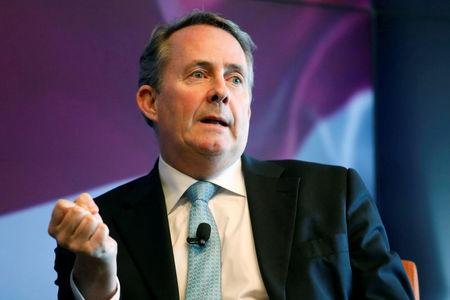Britain's Secretary of State for International Trade Liam Fox speaks at an event hosted by Thomson Reuters in Manhattan New York