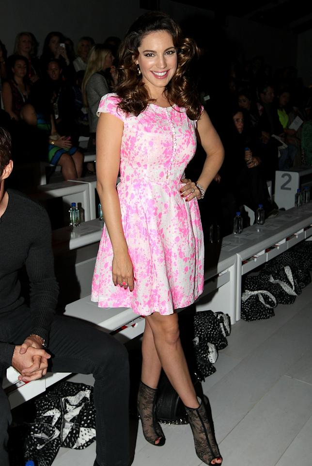 LONDON, ENGLAND - SEPTEMBER 15: Kelly Brook attends the front row for the Issa London show on day 2 of London Fashion Week Spring/Summer 2013, at The Courtyard Show Space on September 15, 2012 in London, England.  (Photo by Danny Martindale/WireImage)