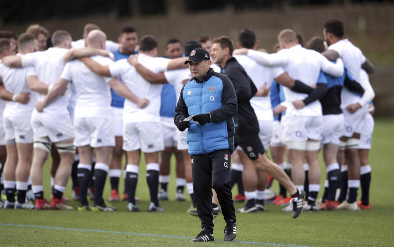 England's head coach Eddie Jones during a rugby training session in Bagshot, England, Saturday Feb. 9, 2019. England will play France, in the Six Nations Championship competition at London's Twickenham Stadium on Sunday. (Adam Davy/PA via AP)