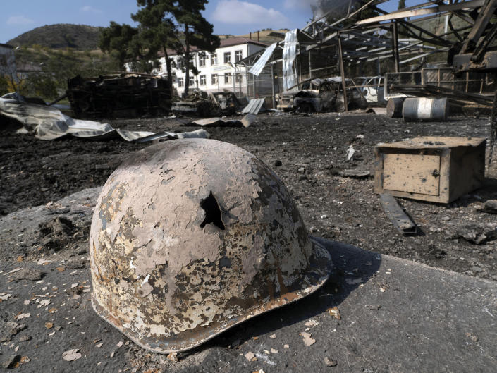 A broken solder's helmet is seen in a local hospital damaged by shelling from Azerbaijan's artillery during a military conflict, in the town of Martakert, the separatist region of Nagorno-Karabakh, Thursday, Oct. 15, 2020. The conflict between Armenia and Azerbaijan is escalating, with both sides exchanging accusations and claims of attacks over the separatist territory of Nagorno-Karabakh.(AP Photo)