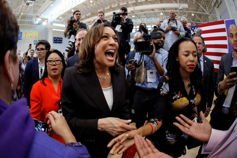 FILE PHOTO: U.S. Senator Kamala Harris greets supporters after holding her first organizing event in Los Angeles as she campaigns in the 2020 Democratic presidential nomination race in Los Angeles