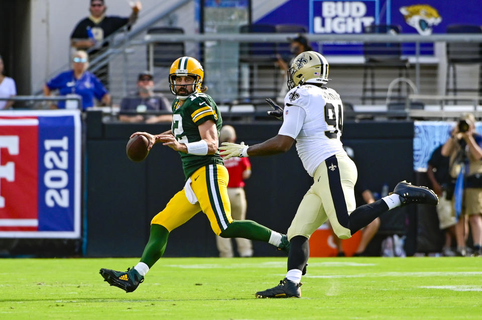 Aaron Rodgers and the Packers are looking to bounce back after getting blown out by the Saints in Week 1. (Tommy Gilligan/USA TODAY Sports)
