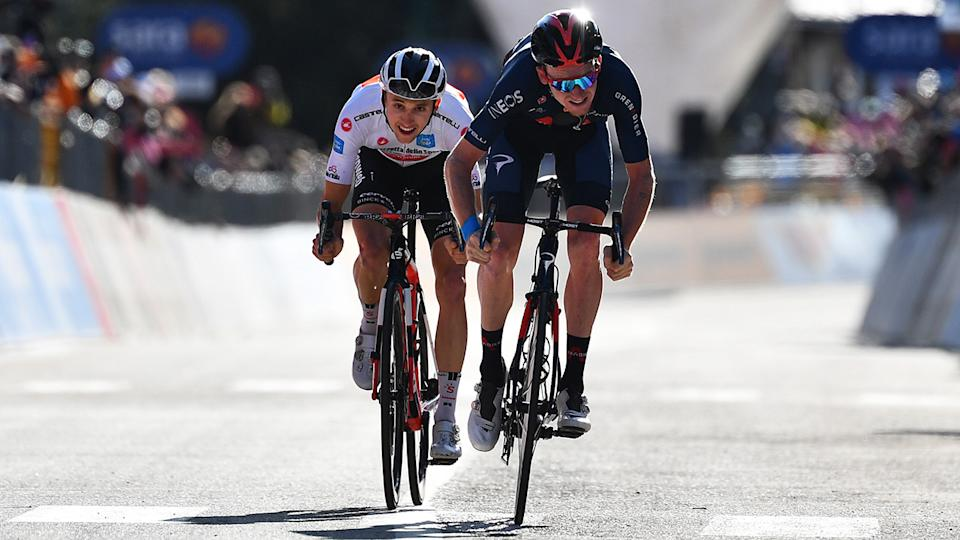 Jai Hindley, pictured here in action at the Giro d'Italia.