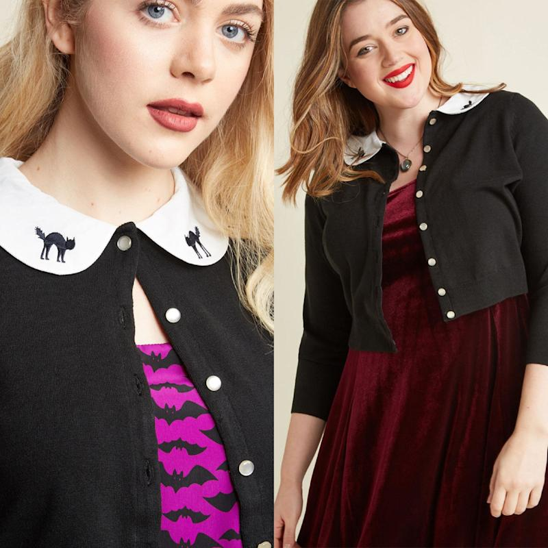 """<a href=""""https://www.modcloth.com/shop/hidden/cropped-cardigan-with-embroidered-peter-pan-collar/153621.html"""" target=""""_blank"""">Shop it here</a>."""
