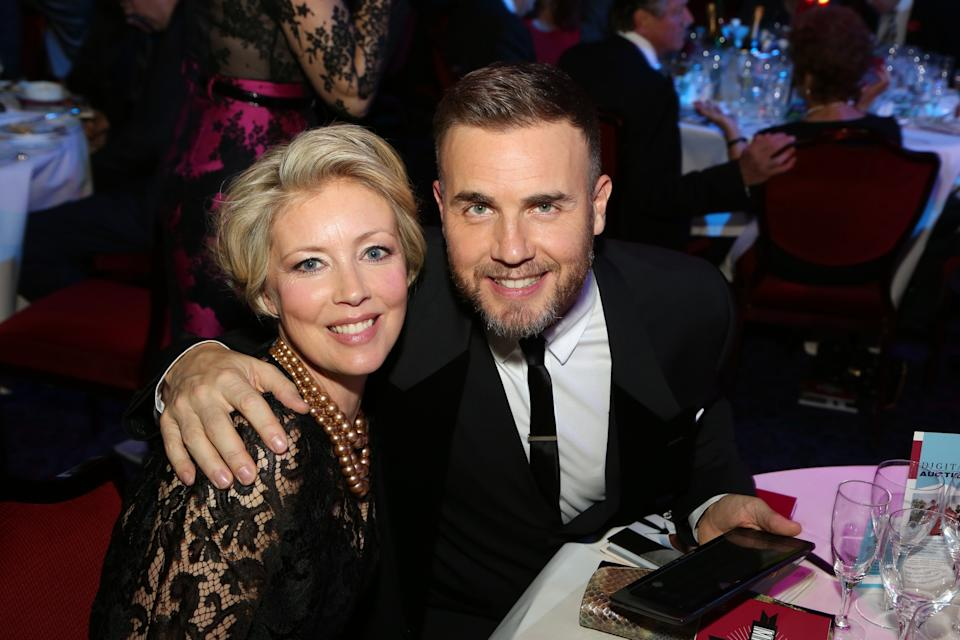 FILE - Dawn Barlow, left, and Gary Barlow seen at the 2012 Music Industry Trusts Award ceremony at the Grosvenor House Hotel on Monday, Nov. 5, 2012, in London. (Photo by John Marshall JM Enternational/Invision/AP)