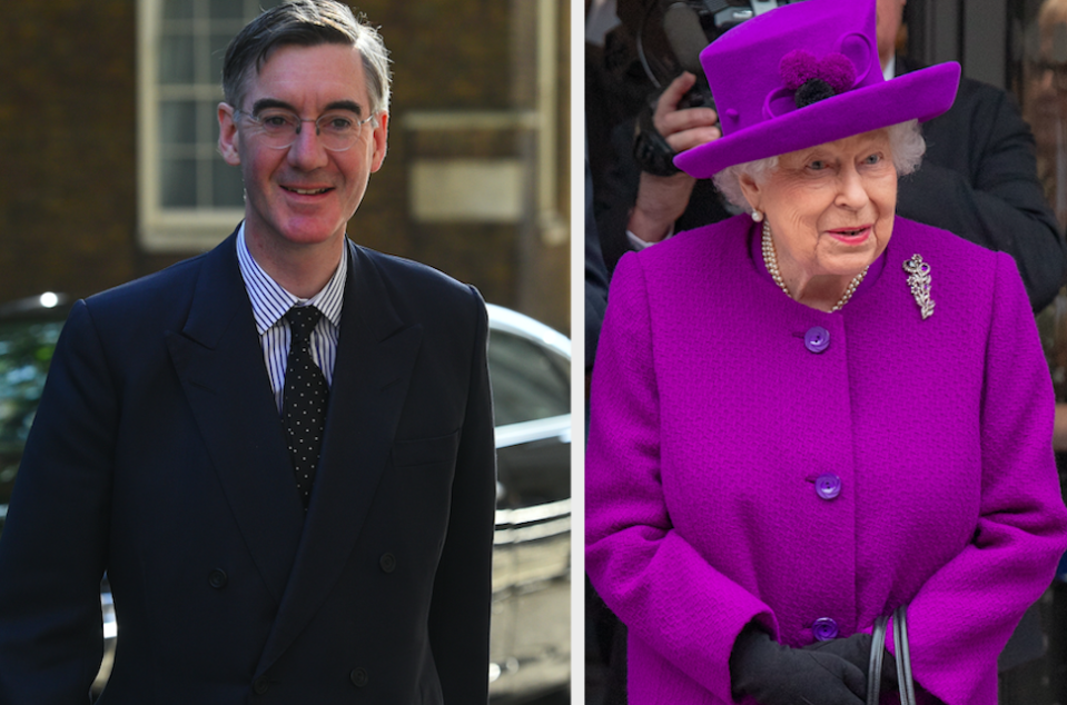 Jacob Rees-Mogg recited the national anthem in defence of the Queen over the Buckingham Palace racism claims. (PA)
