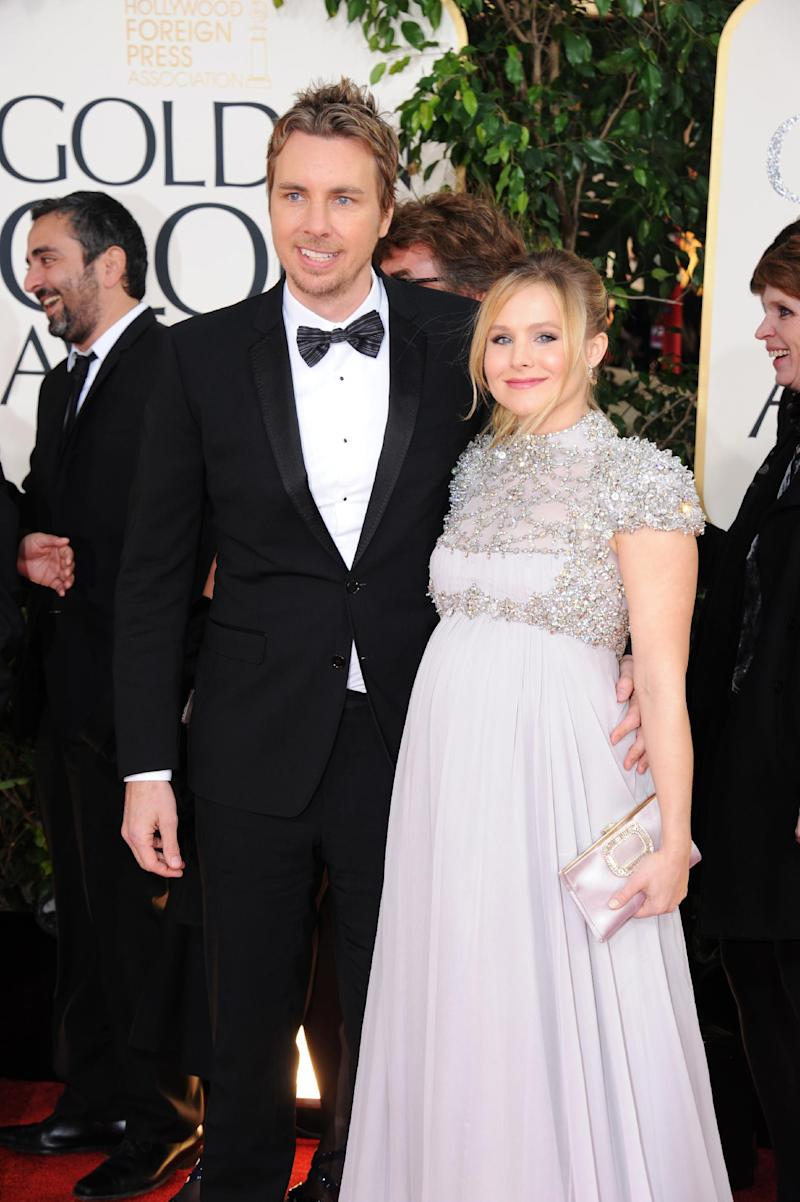 """FILE - In this Jan. 13, 2013 file photo, Kristen Bell and Dax Shepard arrive at the 70th Annual Golden Globe Awards at the Beverly Hilton Hotel in Beverly Hills, Calif. Bell tweeted Thursday, March 28, 2013, """"Welcome Baby Lincoln,"""" confirming that she and fiance Shepard welcomed a new baby daughter. (Photo by Jordan Strauss/Invision/AP, File)"""