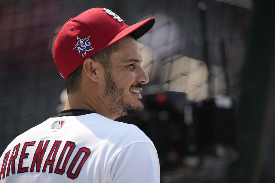 National League's Nolan Arenado, of the St. Louis Cardinals, warms-up during batting practice for the MLB All-Star baseball game, Monday, July 12, 2021, in Denver. (AP Photo/David Zalubowski)