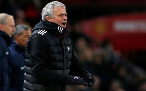 Jose Mourinho shouts at Old Trafford - Credit: Reuters