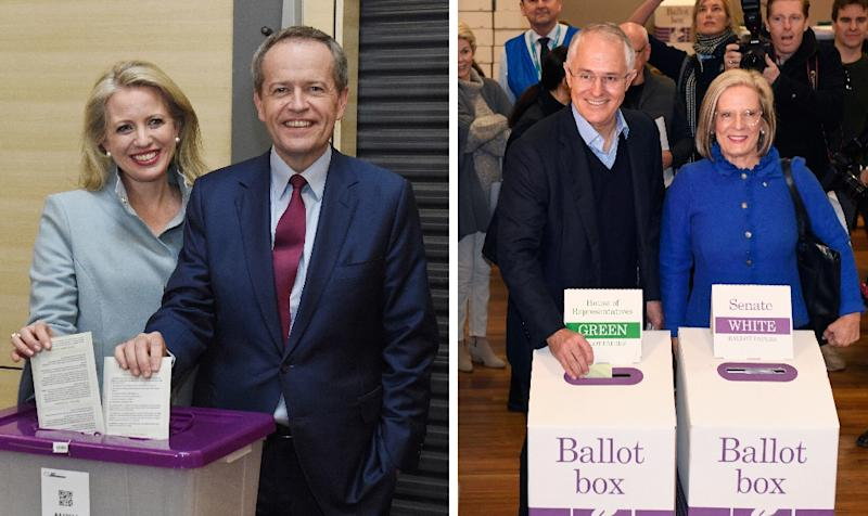Australian Labor leader Bill Shorten (L) has called Prime Minister Malcolm Turnbull (R) the 'David Cameron of the southern hemisphere' (AFP Photo/William West, Lukas Coch)
