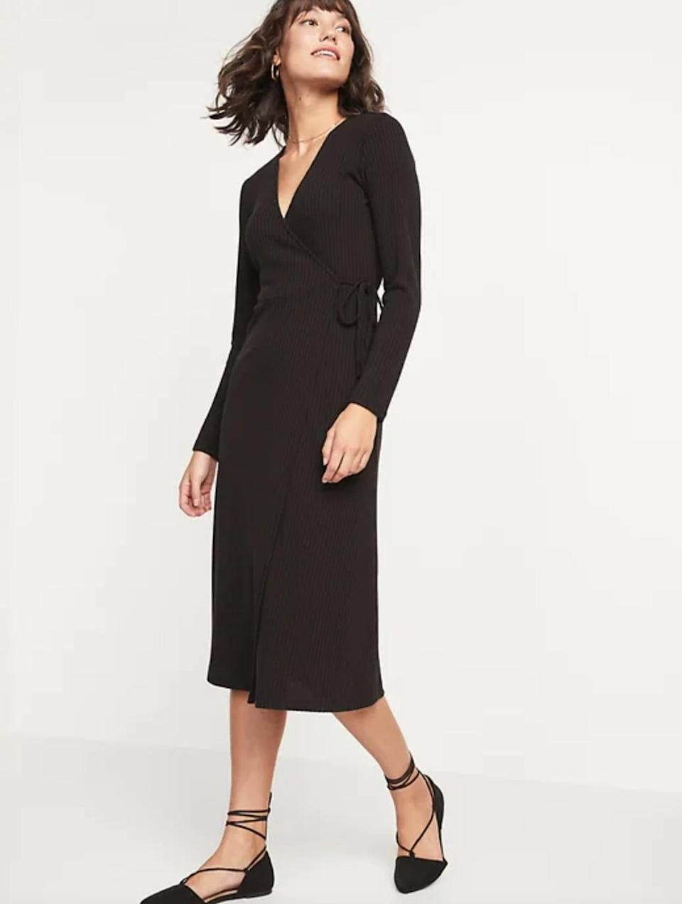 <p>Summer office days call for something like this throw-on-and-go <span>Rib-Knit Midi Fit &amp; Flare Wrap Dress</span> ($25, originally $45).</p>