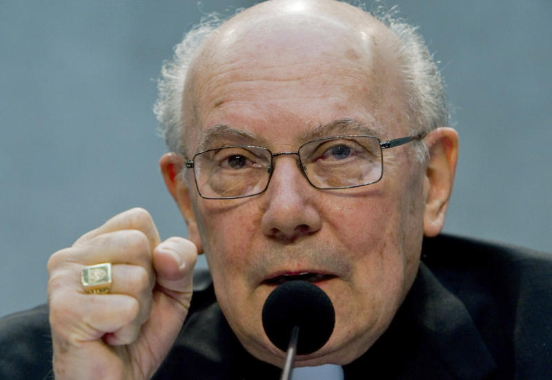 FILE - In this Tuesday, Oct. 20, 2009 file photo, Cardinal William Levada, the Vatican's chief doctrinal official, speaks at a news conference at the Vatican. Conventional wisdom holds that no one from the United States could be elected pope, that the superpower has more than enough worldly influence without an American in the seat of St. Peter. But after Pope Benedict XVI's extraordinary abdication, church analysts are wondering whether old assumptions still apply, including whether the idea of a U.S. pontiff remains off the table. (AP Photo/Domenico Stinellis)