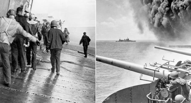 US and Japanese warships battle it out in 1942 during the Battle of Midway. Source: AP