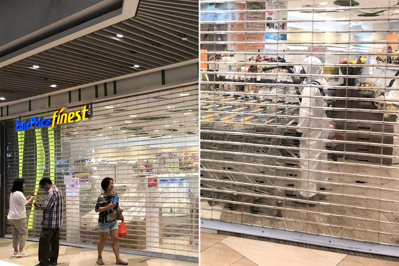 Pictures circulating over social media on Wednesday (1 April) showed workers in protective suits inside the FairPrice Finest outlet at Bedok Mall.