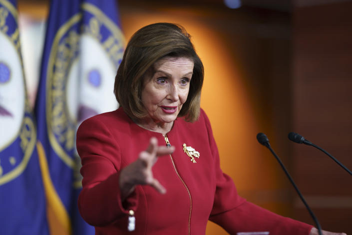 FILE - In this Sept. 8, 2021, file photo speaker of the House Nancy Pelosi, D-Calif., meets with reporters to discuss President Joe Biden's domestic agenda including passing a bipartisan infrastructure bill and pushing through a Democrats-only expansion of the social safety net, the at the Capitol in Washington. (AP Photo/J. Scott Applewhite, File)