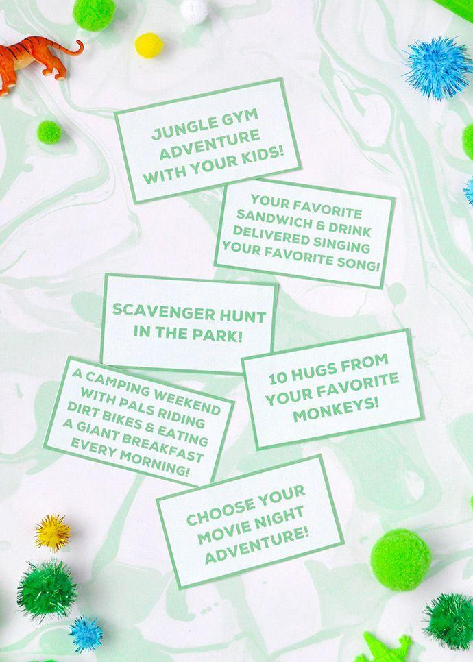 """<p>Present Dad with printable coupons that are special for Father's Day! They'll some fun Father's Day activities, like going for a scavenger hunt in the park or planning a movie night adventure. </p><p><strong>Get the tutorial at <a href=""""https://www.handmadecharlotte.com/fathers-day-crafts-make-dad/"""" rel=""""nofollow noopener"""" target=""""_blank"""" data-ylk=""""slk:Handmade Charlotte"""" class=""""link rapid-noclick-resp"""">Handmade Charlotte</a>.</strong></p><p><a class=""""link rapid-noclick-resp"""" href=""""https://go.redirectingat.com?id=74968X1596630&url=https%3A%2F%2Fwww.walmart.com%2Fip%2FWestcott-Kids-Scissors-5-Stainless-Steel-Pointed-for-School-Assorted-Colors-6-Count%2F49533092&sref=https%3A%2F%2Fwww.thepioneerwoman.com%2Fholidays-celebrations%2Fg36333267%2Ffathers-day-activities%2F"""" rel=""""nofollow noopener"""" target=""""_blank"""" data-ylk=""""slk:SHOP SCISSORS"""">SHOP SCISSORS</a></p>"""