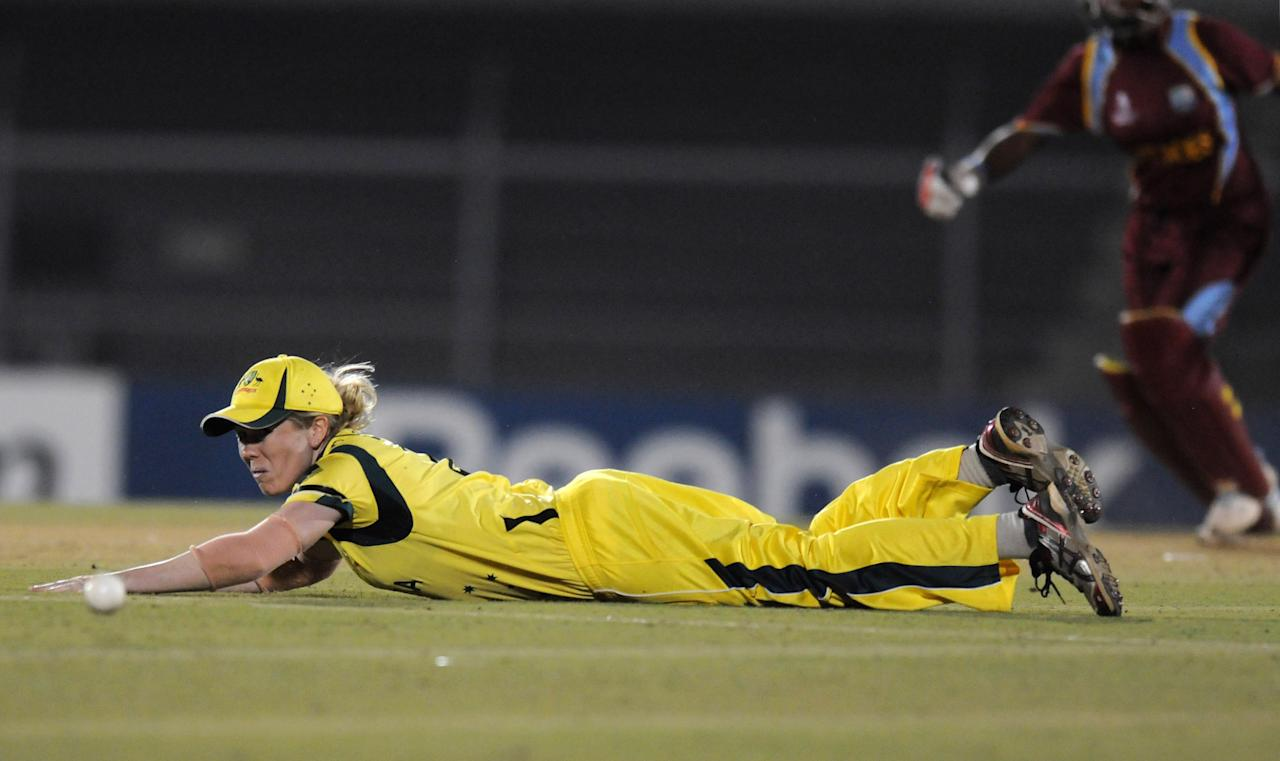 MUMBAI, INDIA - FEBRUARY 17: Alexandra Blackwell of Australia fields during the final between Australia and West Indies held at the CCI (Cricket Club of India) stadium on February 17, 2013 in Mumbai, India.  (Photo by Pal Pillai/Getty Images)