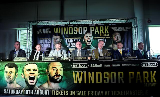 Boxing - Carl Frampton & Tyson Fury Press Conference - Windsor Park, Belfast, Britain - June 18, 2018 Promoter Frank Warren, Tyson Fury, Carl Frampton, Luke Jackson and Paddy Barnes during the press conference REUTERS/Clodagh Kilcoyne