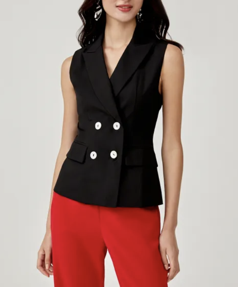 Karter double-breasted vest top, S$46.90. PHOTO: Love, Bonito