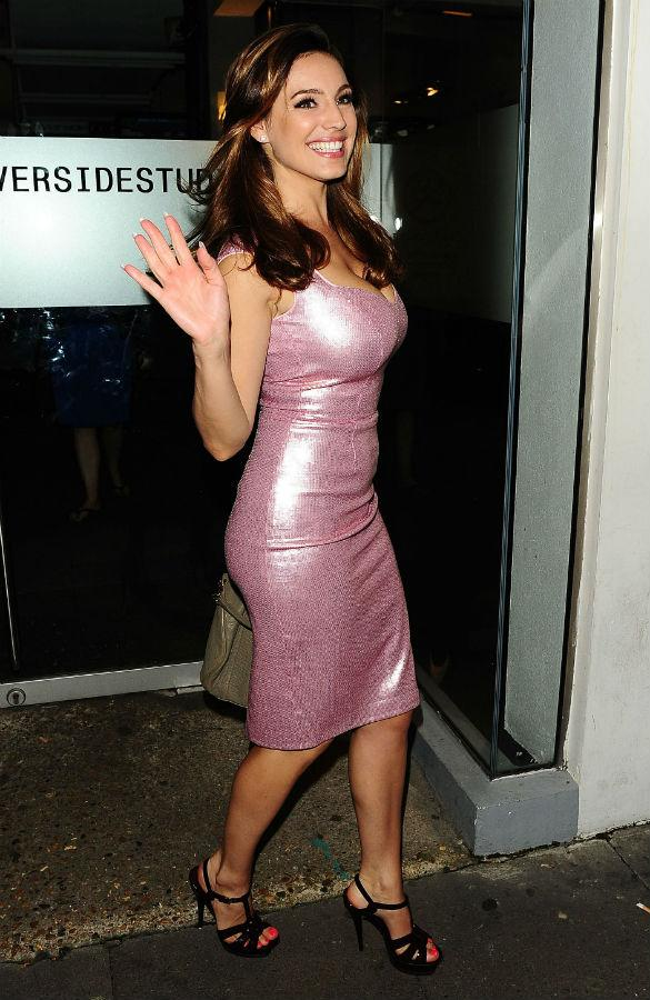 Kelly Brook Almost Pours Out Of Glittery Pink Sequin Dress To Film Celebrity Juice