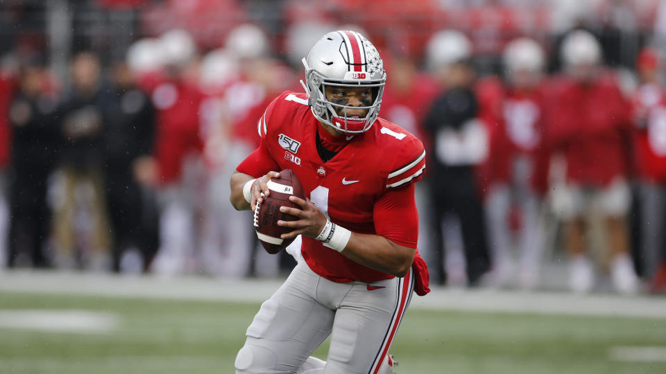 Ohio State quarterback Justin Fields plays against Wisconsin during an NCAA college football game Saturday, Oct. 26, 2019, in Columbus, Ohio. Ohio State beat Wisconsin 38-7. (AP Photo/Jay LaPrete)