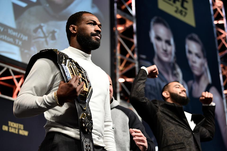 LAS VEGAS, NEVADA - DECEMBER 13: (L-R) Jon Jones and Dominick Reyes face off during the UFC 247 Press Conference at T-Mobile Arena on December 13, 2019 in Las Vegas, Nevada. (Photo by Chris Unger/Zuffa LLC via Getty Images)