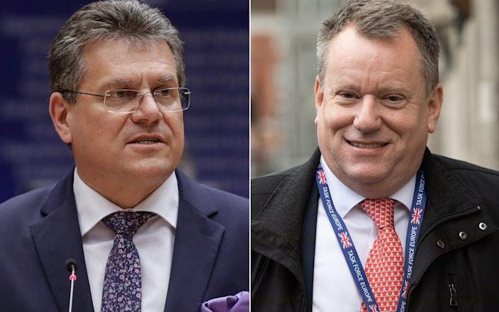 Maros Sefcovic and Lord Frost - STEPHANIE LECOCQ/POOL/Aaron Chown/PA Wire