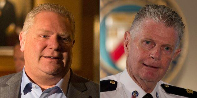 Ontario Premier Doug Ford says he wasn't involved in selecting family friend Ron Taverner, right, as the next commissioner of the Ontario Provincial Police.