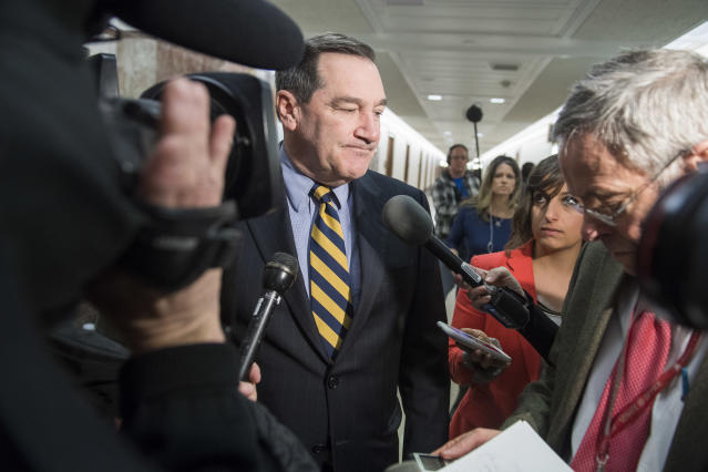 "<span class=""s1"">Sen. Joe Donnelly heads for a bipartisan meeting on immigration in January. (Photo: Tom Williams/CQ Roll Call via Getty Images)</span>"